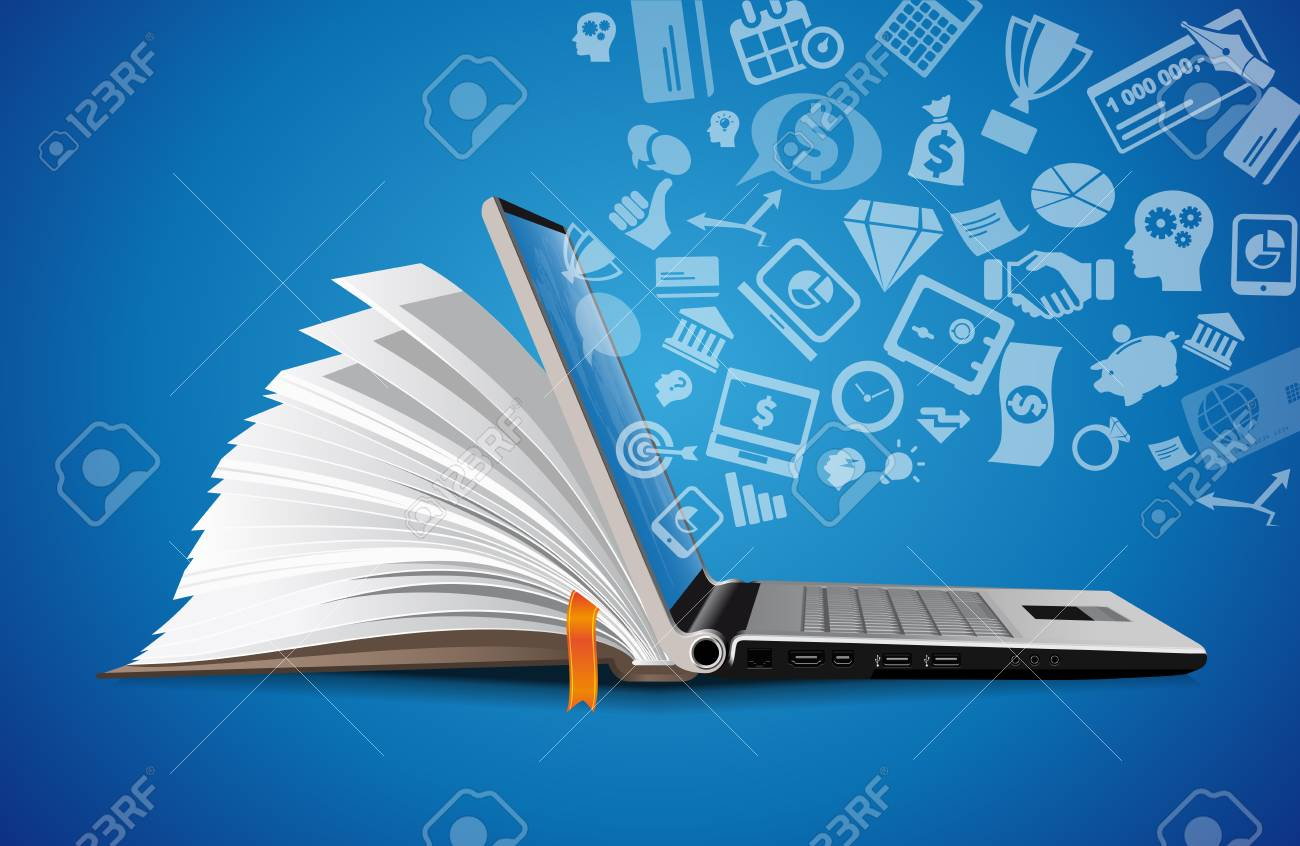 Computer as a knowledge base concept - laptop as elearning idea - 107716681