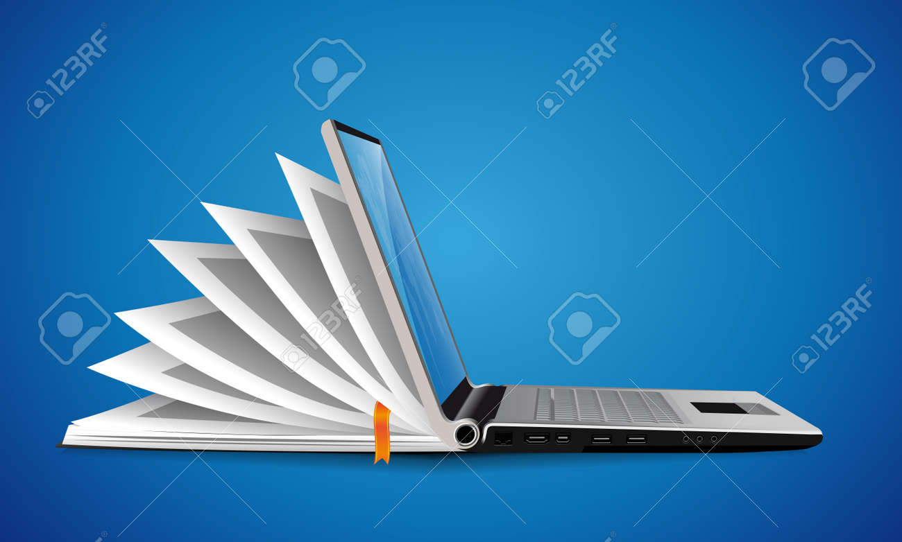 Computer as book knowledge base concept - laptop as elearning idea - 156450876