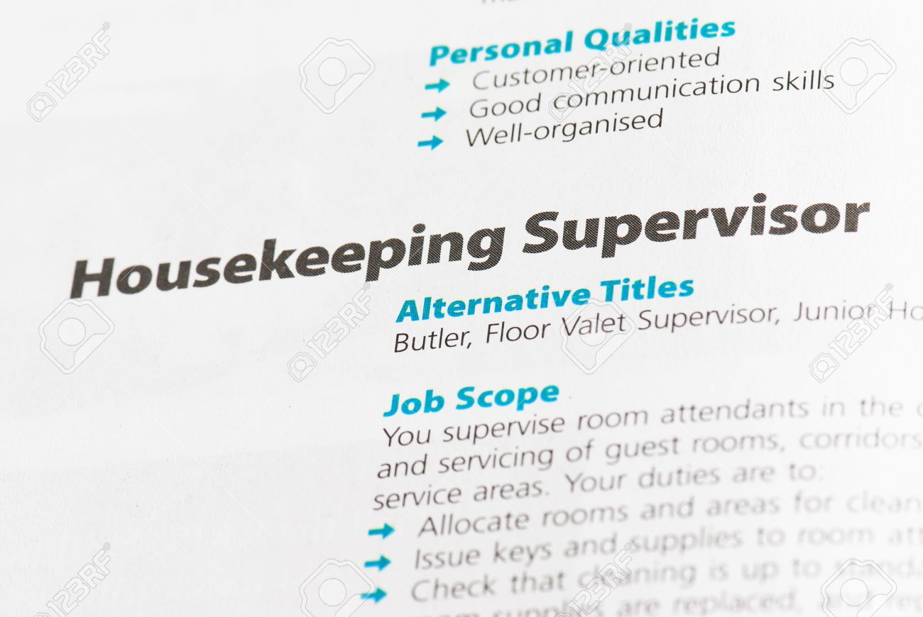 Occupation - Housekeeping Supervisor 1 Stock Photo, Picture And ...