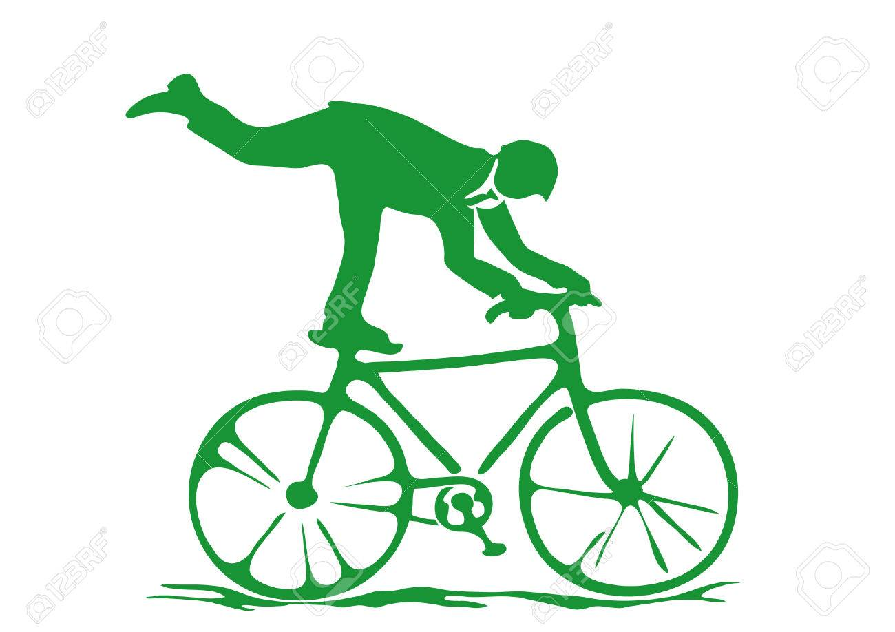 Simple Dessin A Plat De L Homme D Affaires Exercant Sur Un Velo