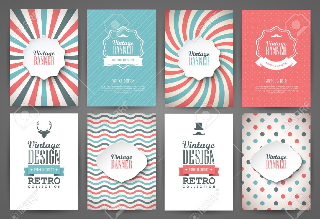 Set of brochures in vintage style. Vector design templates. Vintage frames and backgrounds. Stock Vector - 44292358