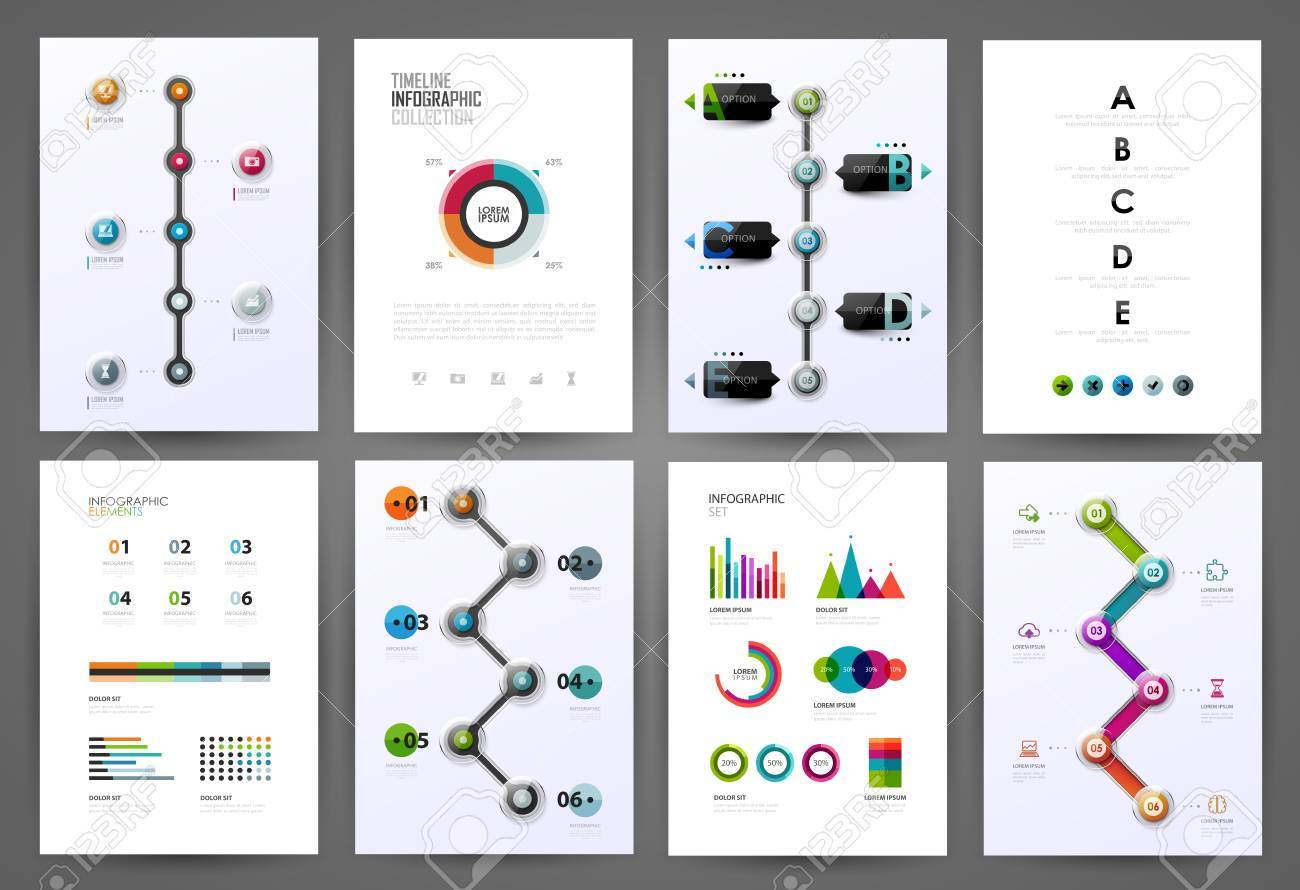 Set Of Timeline Infographic Design Templates. Diagrams, Charts ...
