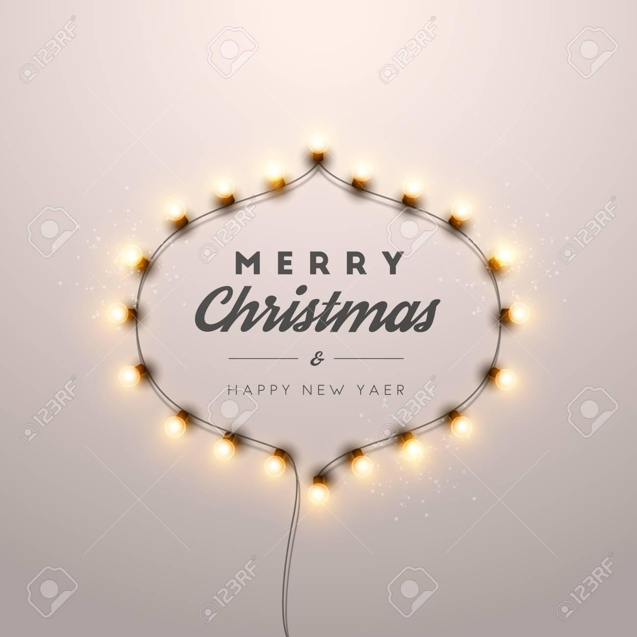 Christmas Lights Vector Free.Christmas Background With Christmas Lights Vector Illustration