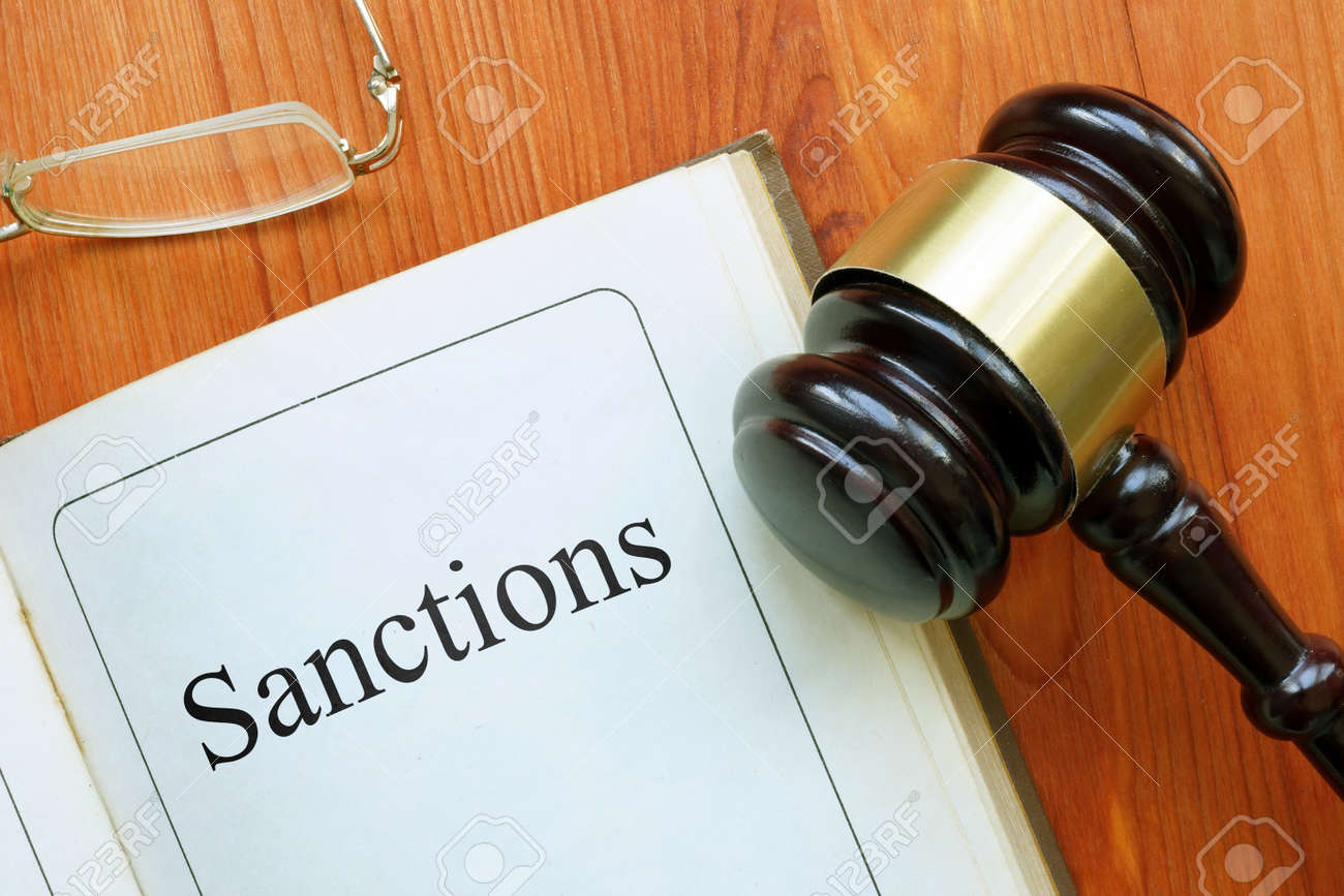 Sanctions is shown on the conceptual photo using the text - 162886062