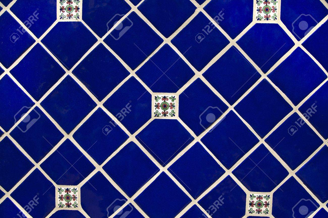 Diamond Shaped Ceramic Tile Pattern In Deep Blue Backgrounds.. Stock ...