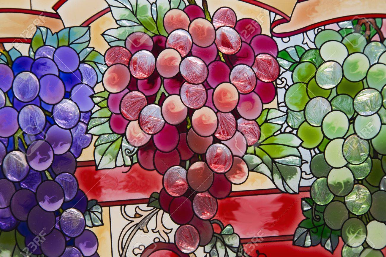Stained Glass grape clusters  closeup Stock Photo - 16308880