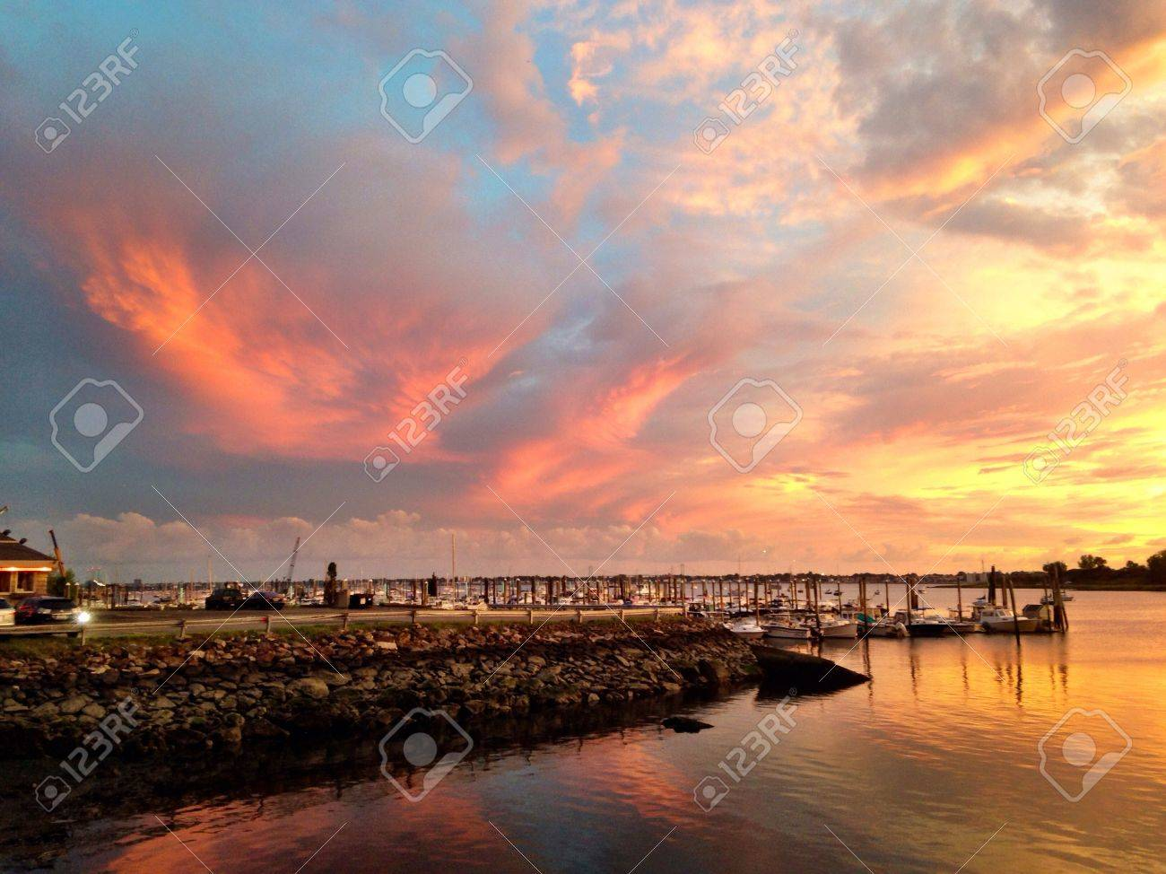 Sunset at City Island in The Bronx Stock Photo - 31383715