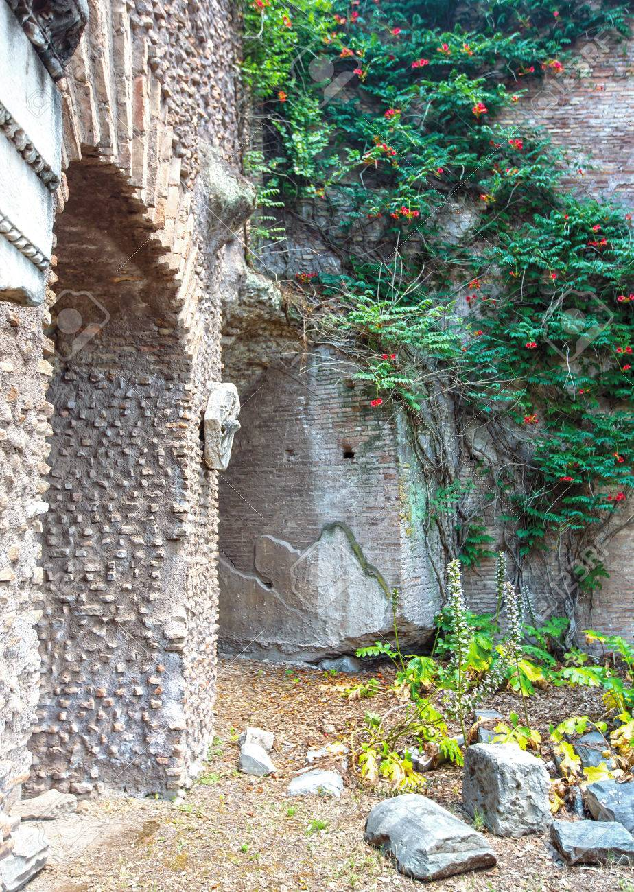 Exterior of Roman ruins with vegetation and plants overgrowing the area Stock Photo - 31588592
