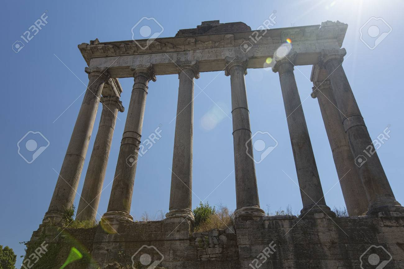 Temple of Saturn in the Roman Forum - with sun flare Stock Photo - 31817822