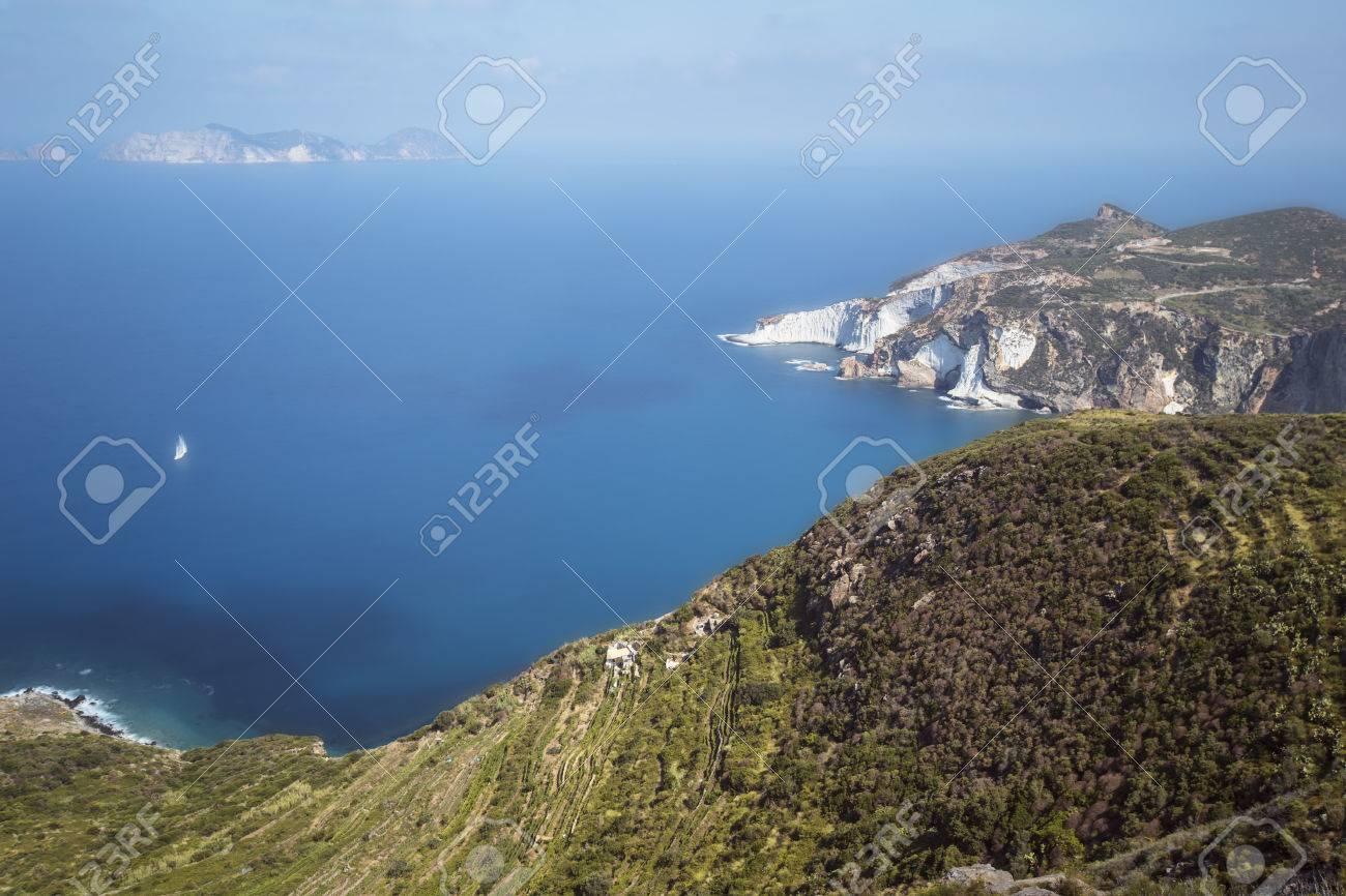 Panorama View of Mediterranean Island Coastline (Ponza, Italy). Long Exposure Photography Technique Stock Photo - 32569462