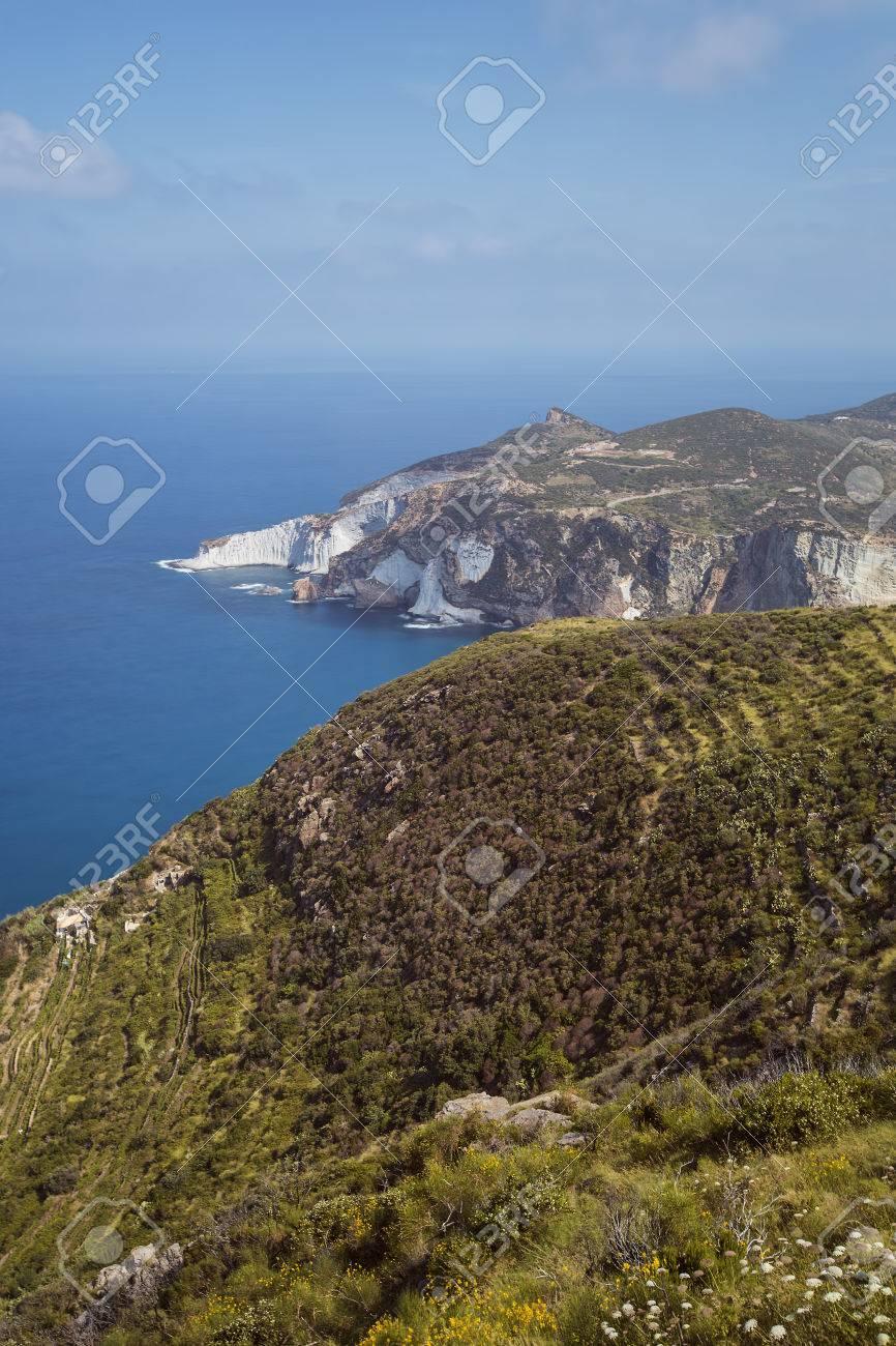 Panorama View of Mediterranean Island Coastline (Ponza, Italy). Long Exposure Photography Technique Stock Photo - 32615435
