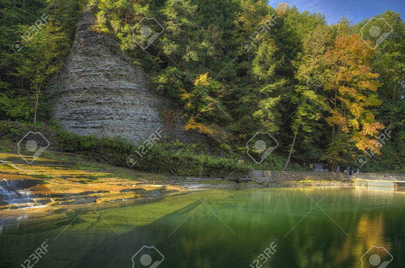 Buttermilk Falls State Park in Ithaca. Part of the Finger Lakes Region of New York State. Early Autumn Stock Photo - 35026644