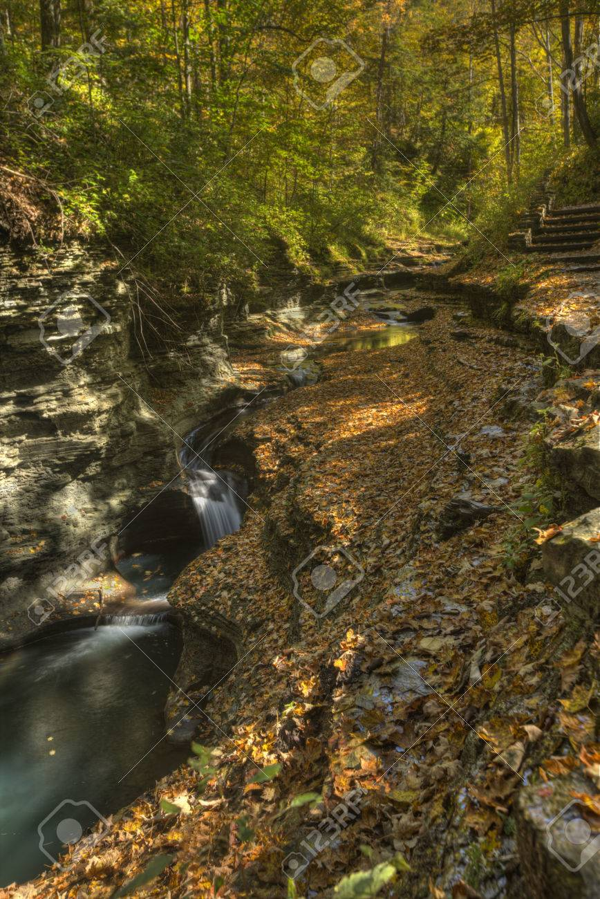 Buttermilk Falls State Park in Ithaca. Part of the Finger Lakes Region of New York State. Early Autumn Stock Photo - 36331511