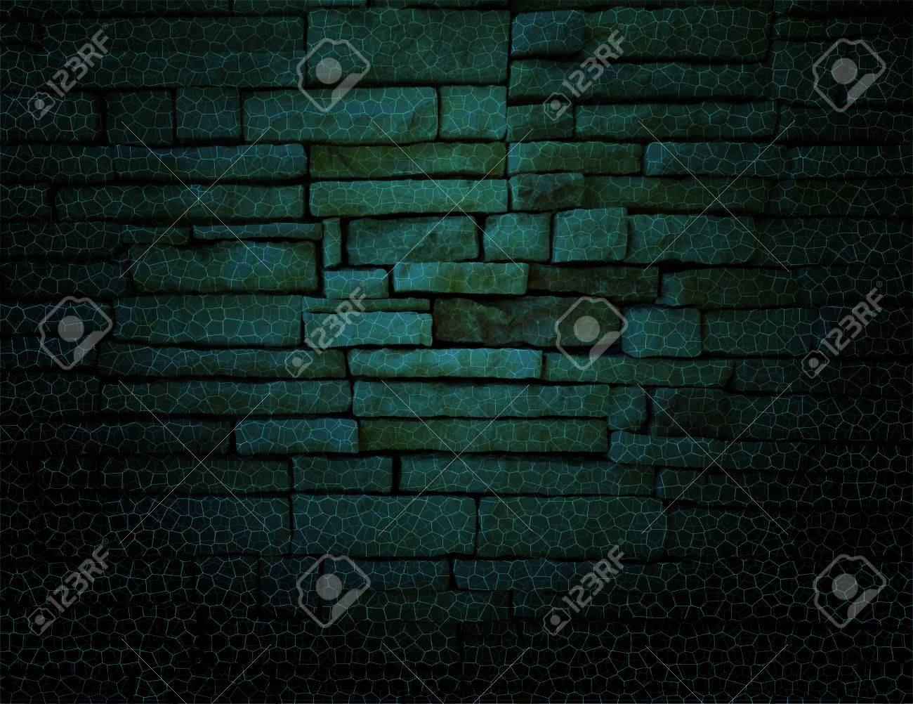 Green Rustic Old Fashioned Brick Wall With Elegant String Lights Grid Background Black