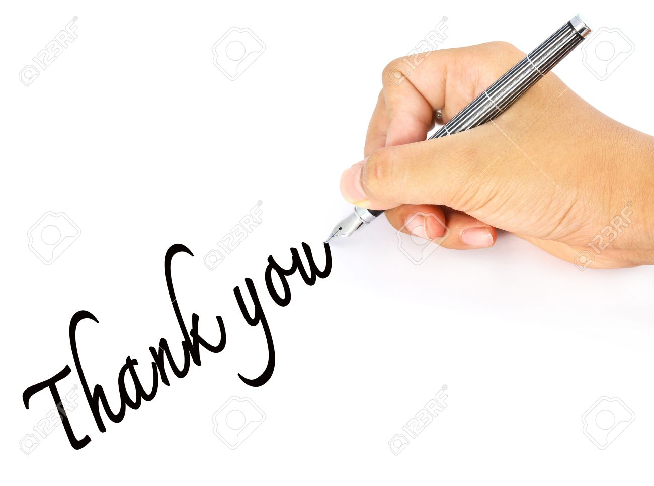 hand writes the word thank you stock photo picture and royalty free