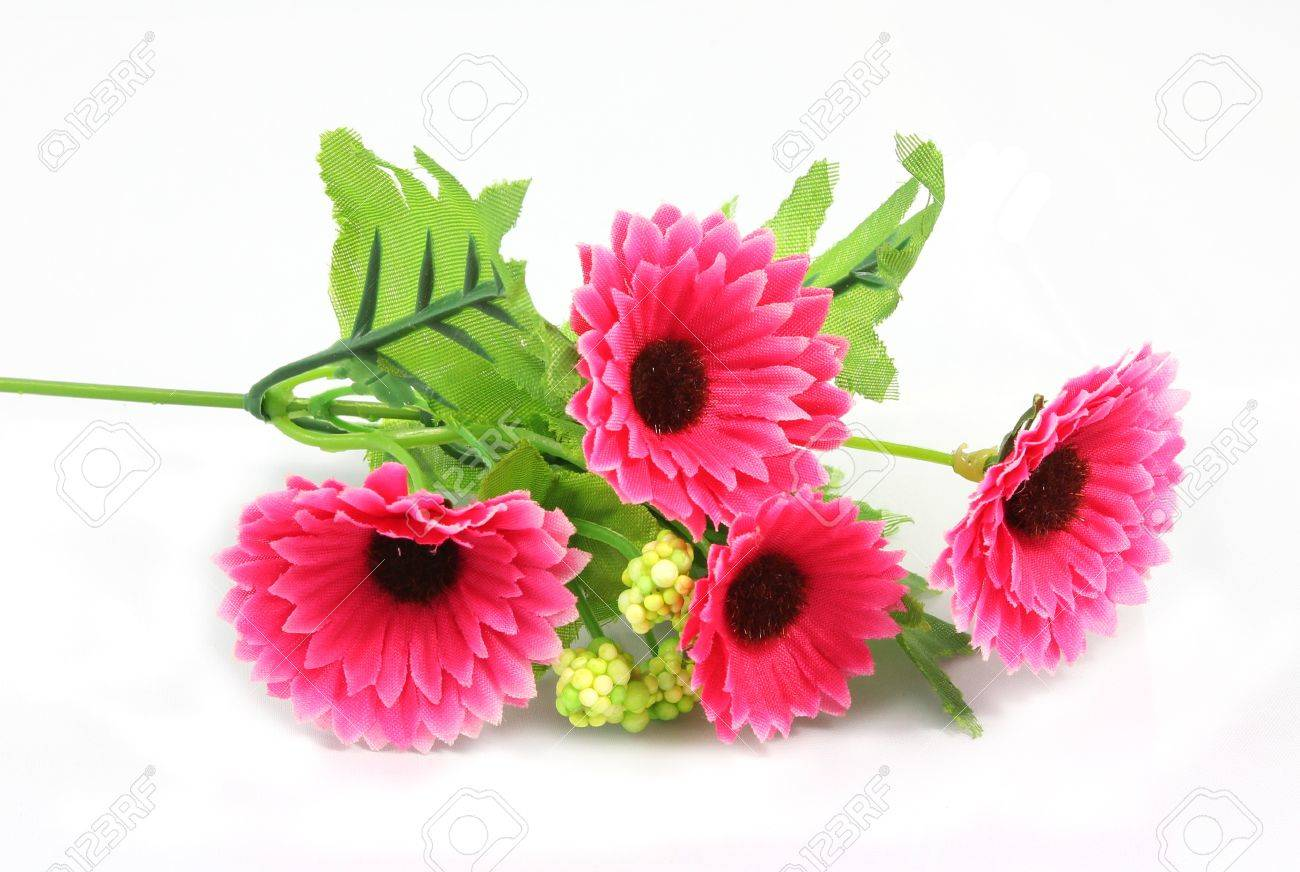 Pink Fake Flowers Is Isolated On A White Stock Photo Picture And