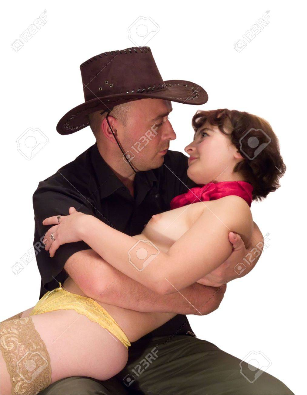 Men in hat and topless brunette girl Stock Photo - 3552413