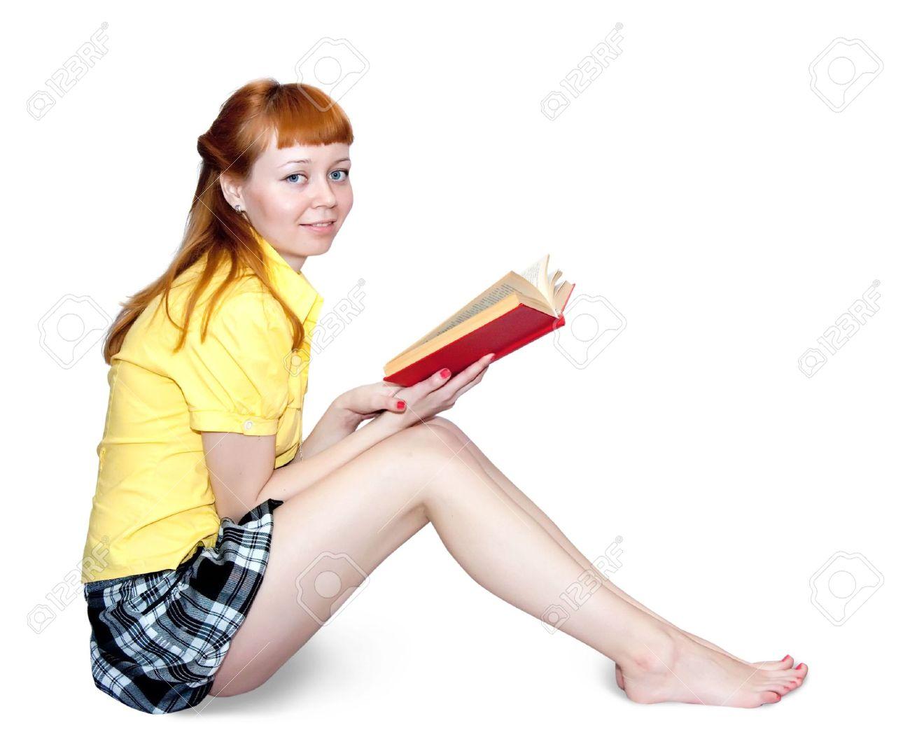 f166f7ca2a3f8f Reading Meisje In Kort Rokje. Geïsoleerd Op Wit Royalty-Vrije Foto ...