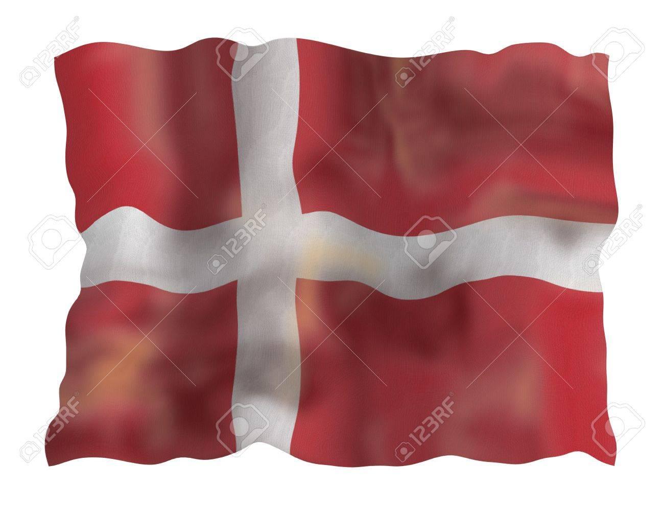 Vintage Denmark national flag. Illustration on white background Stock Photo - 5312516