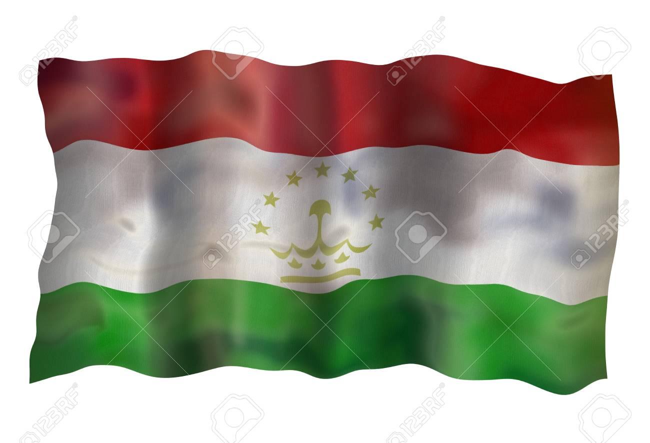 Flag of Tadjikistan . Illustration over white background Stock Illustration - 5439446