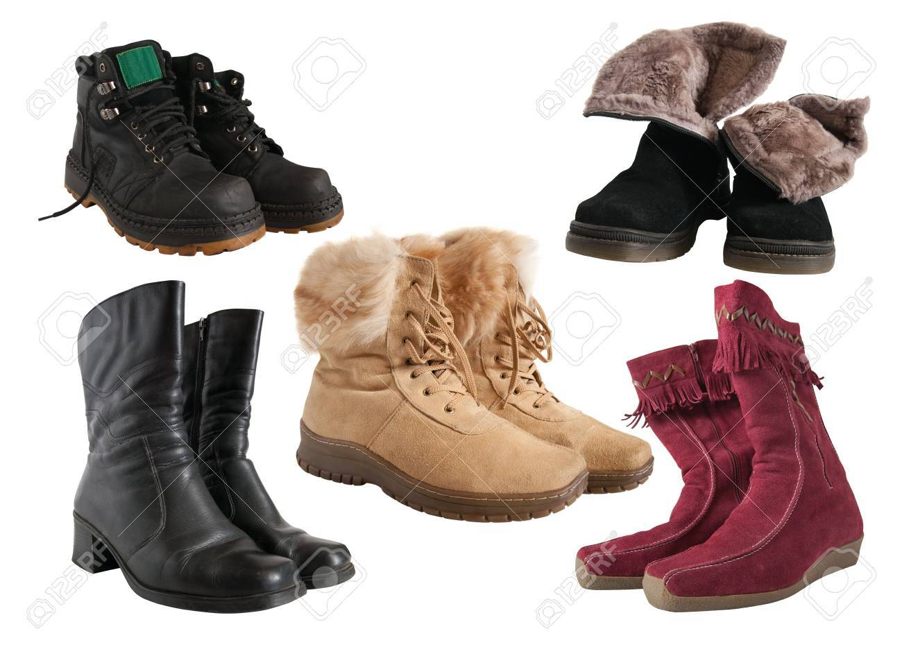Set of different wintry boots Stock Photo - 5593125