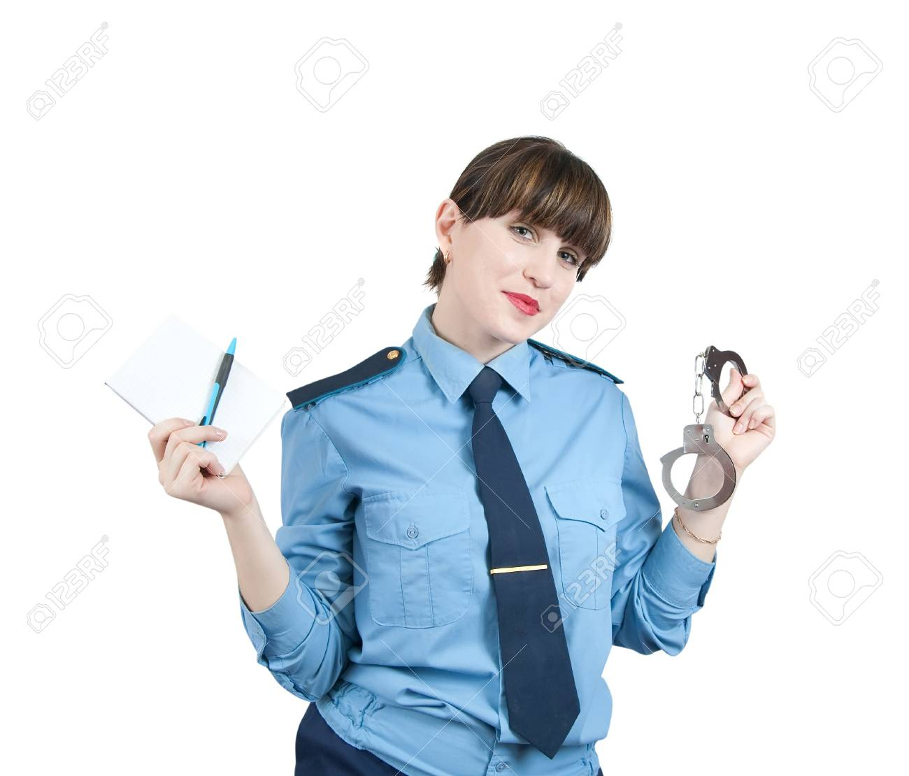woman in uniform with manacles, isolated over white Stock Photo - 5979467
