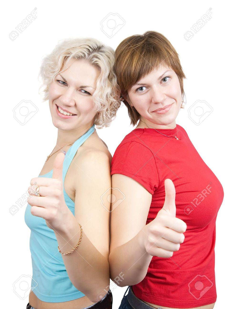 Happy girls  with thumb up. Isolated on white Stock Photo - 6031360