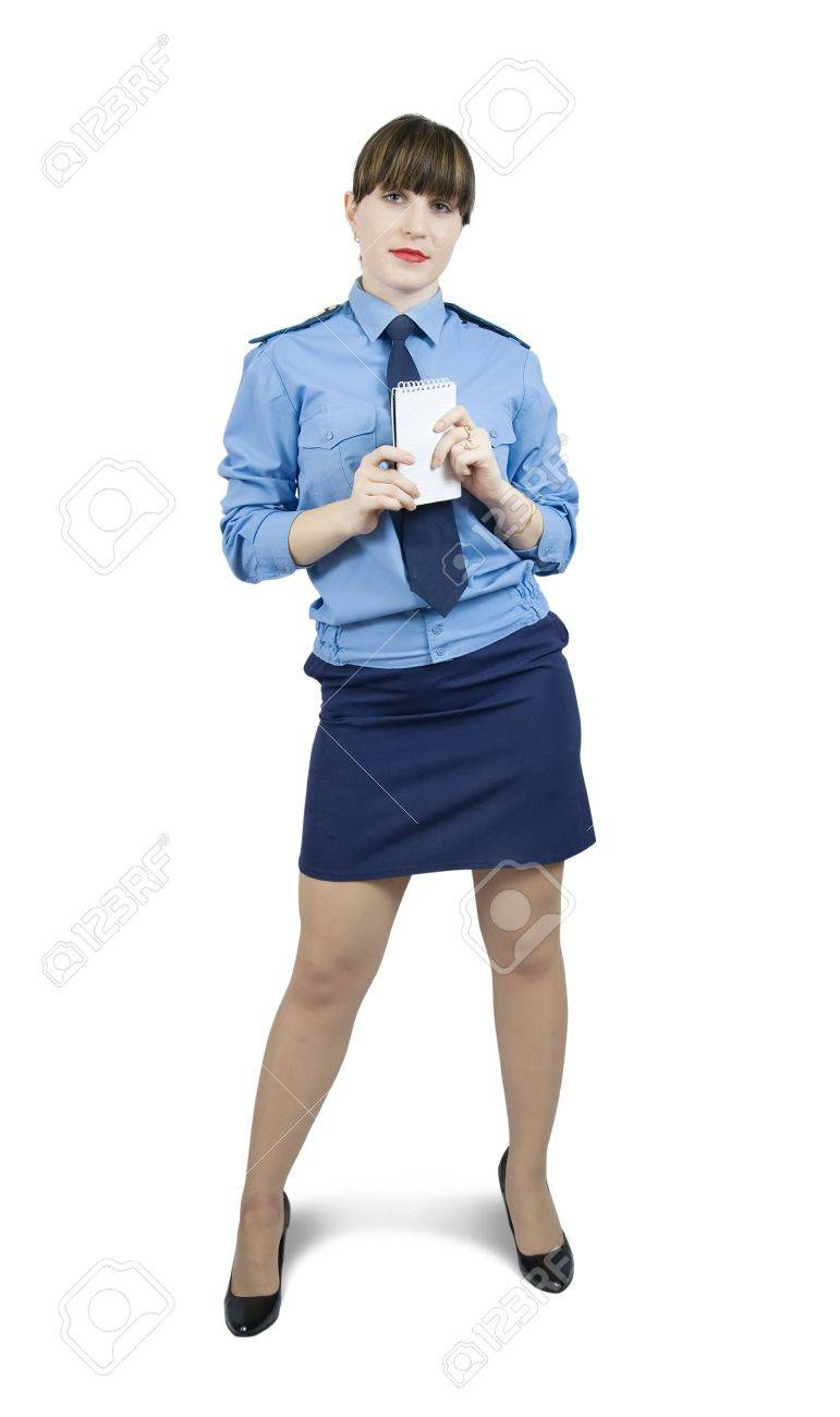 woman in uniform with blanks over white Stock Photo - 6081130