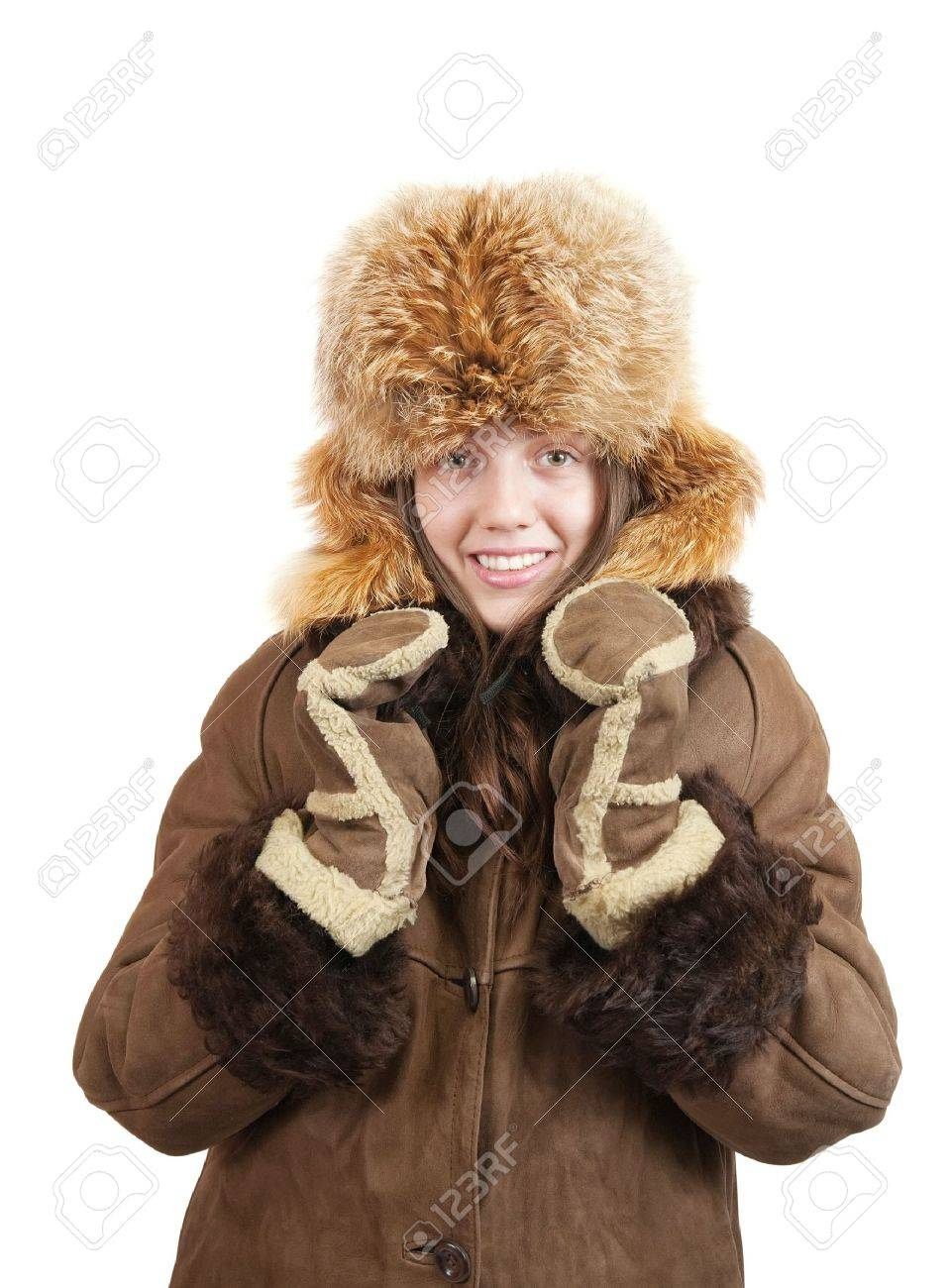 Girl In Sheepskin Coat And Fox Hat On White Background Stock Photo ...