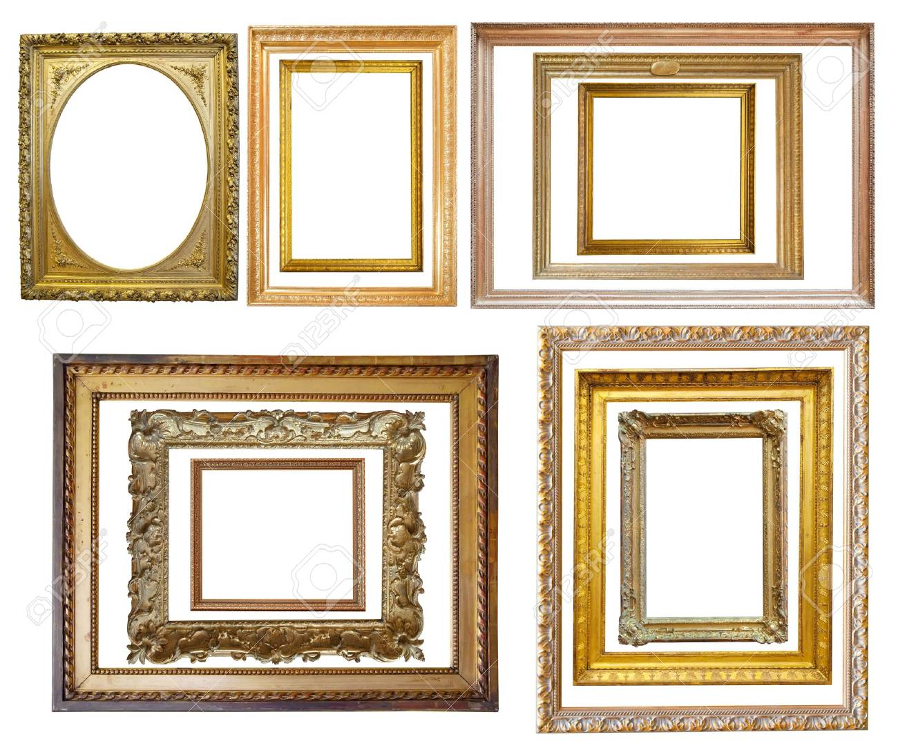 Set of  Vintage gold picture frame Stock Photo - 6191328