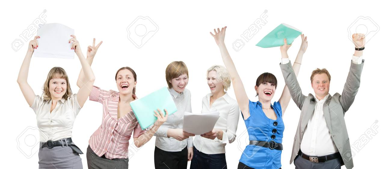 Few businesspeople is joy. Happy business team over white background Stock Photo - 6235183