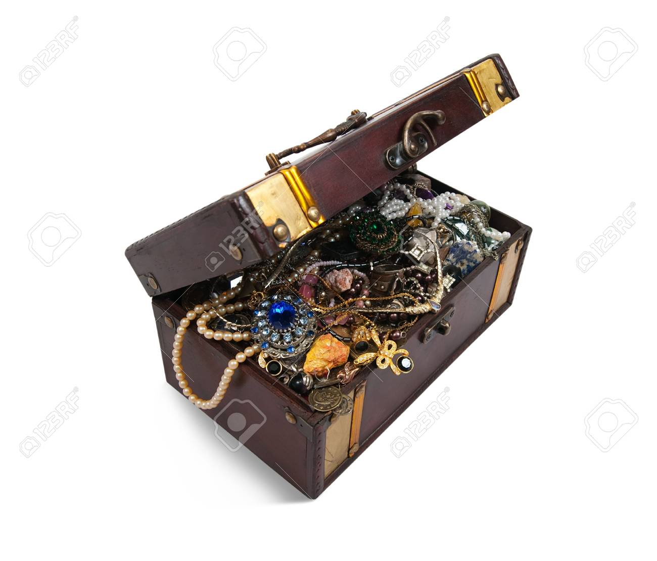 wooden treasure chest with valuables, isolated over white background Stock Photo - 6319026