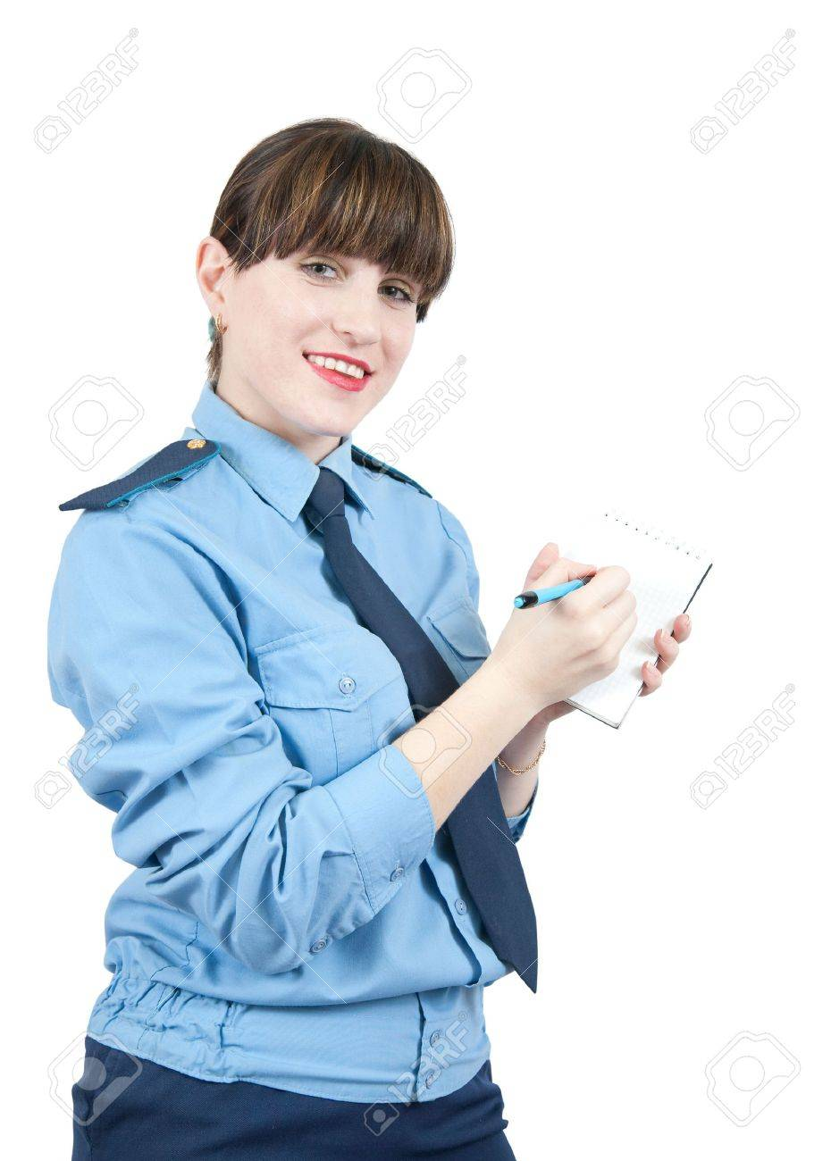 woman in uniform writing something on a notebook over white Stock Photo - 6346498