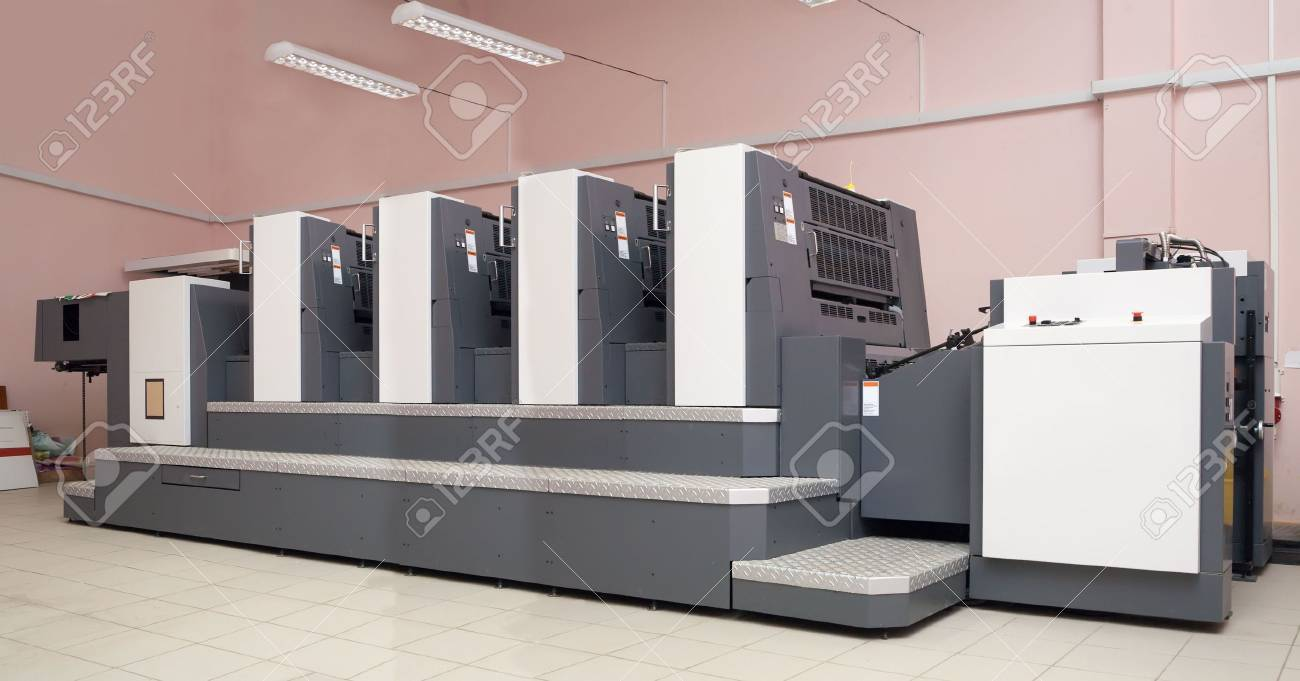 four-section offset printed machine at  printing house Stock Photo - 6346508
