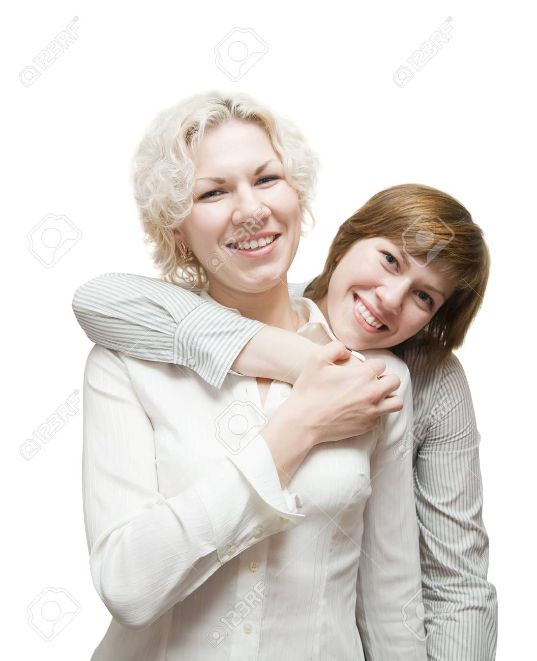Two young happy girls over white background Stock Photo - 6374995