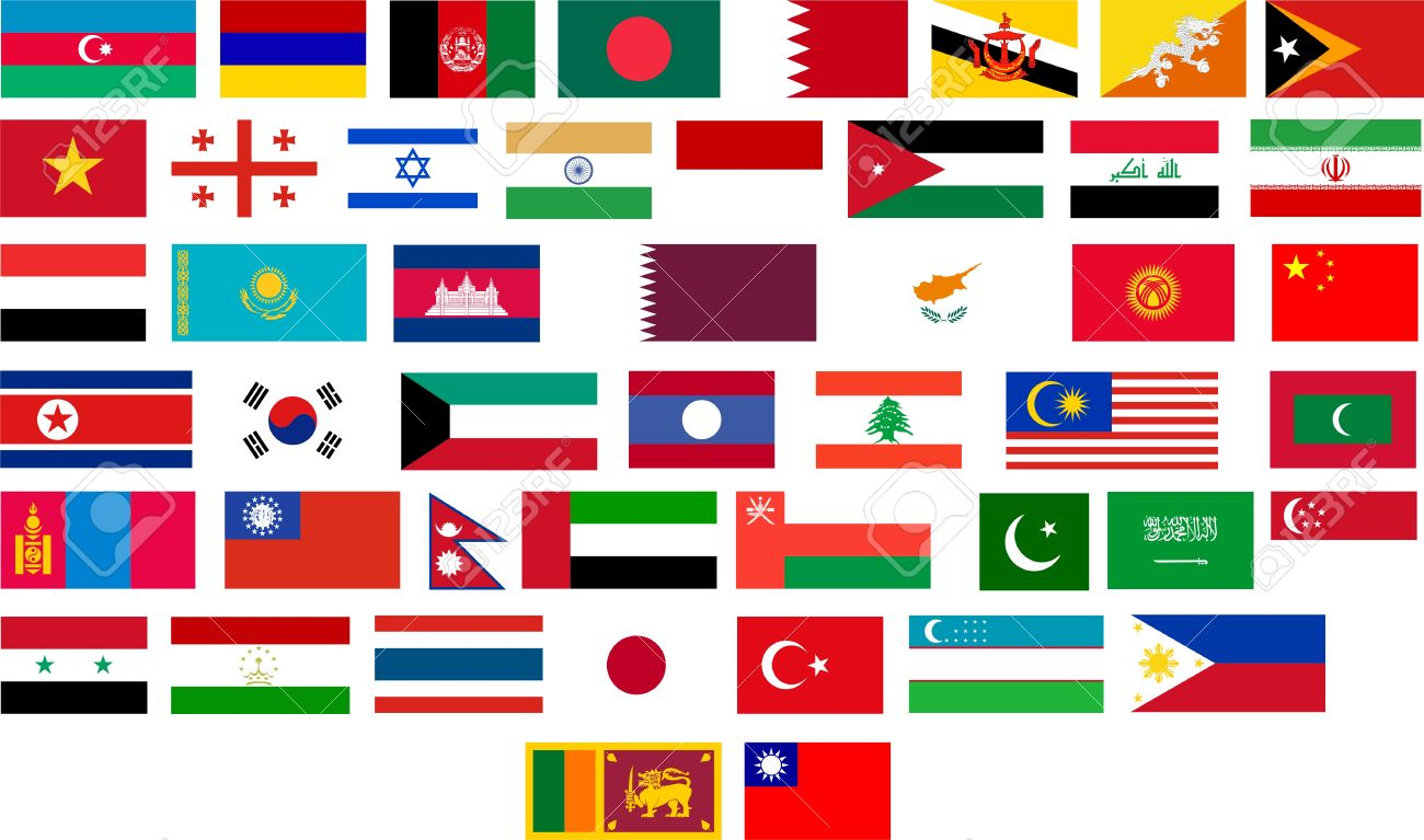 flags of all asian countries illustration over white background