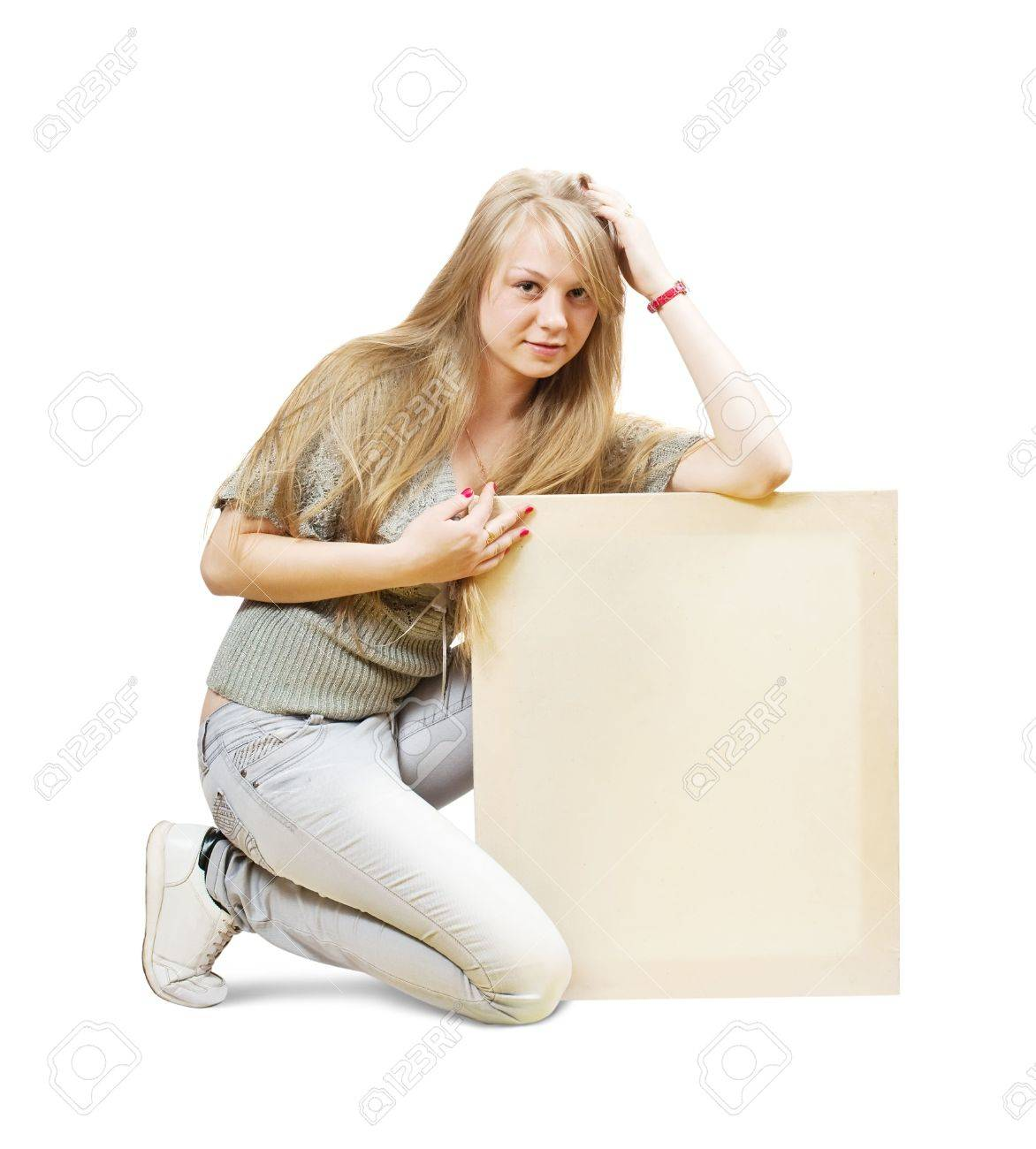 Sitting blonde girl with empty poster over white Stock Photo - 6808275