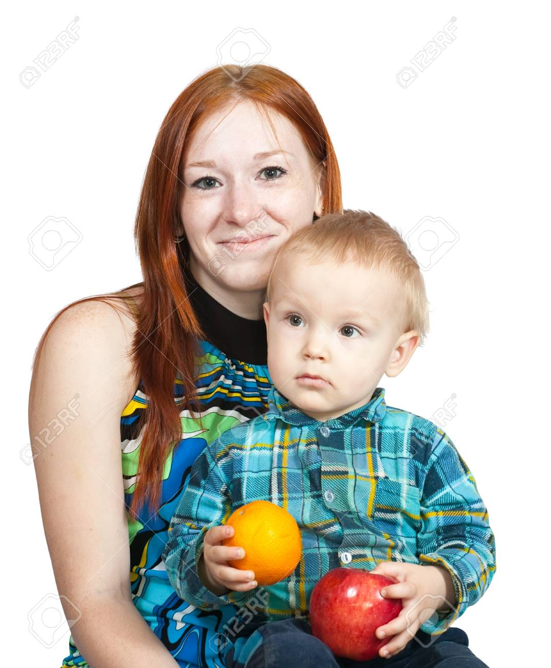 mother with her son. Isolated over white Stock Photo - 6935704