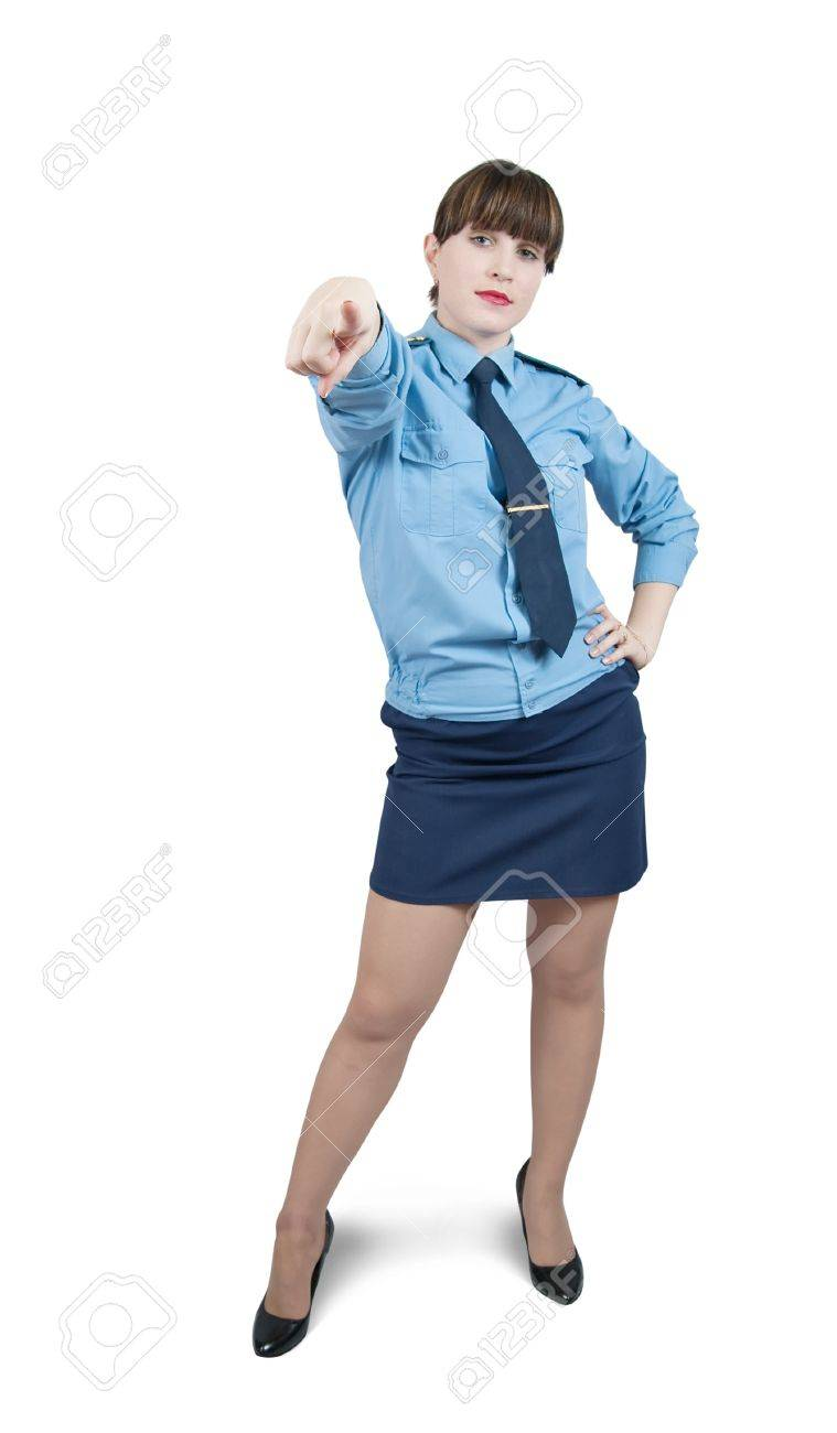 pointing woman in uniform, isolated over white Stock Photo - 6935335
