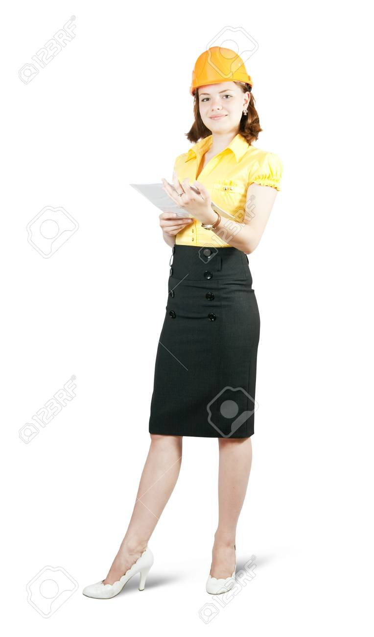 businesswoman in hard hat with documents  on white background Stock Photo - 6986511
