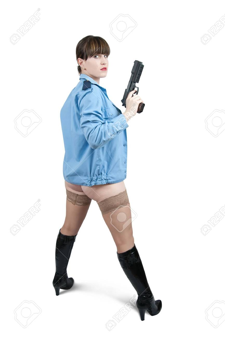 Rear view of sexy girl in uniform with gun isolated on white Stock Photo - 7092172