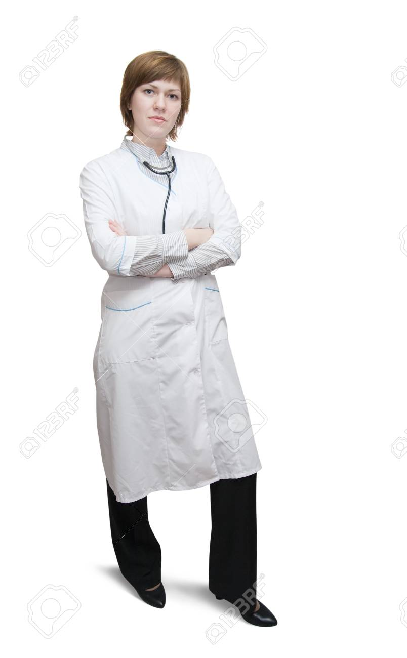 Beautiful young doctor with stethoscope over white Stock Photo - 7114937
