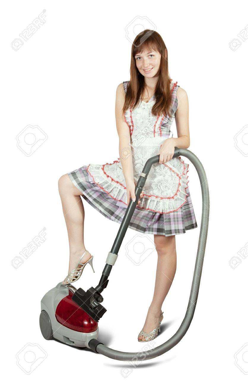 Girl in with vacuum cleaner. Isolated over white background Stock Photo - 7173169