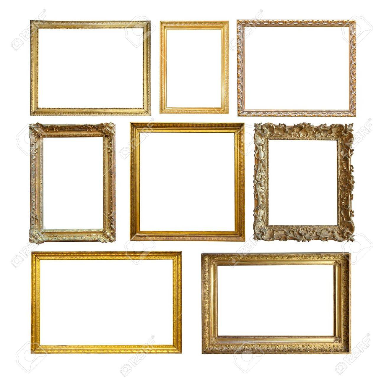 Set of  Vintage gold picture frame. Stock Photo - 7322336