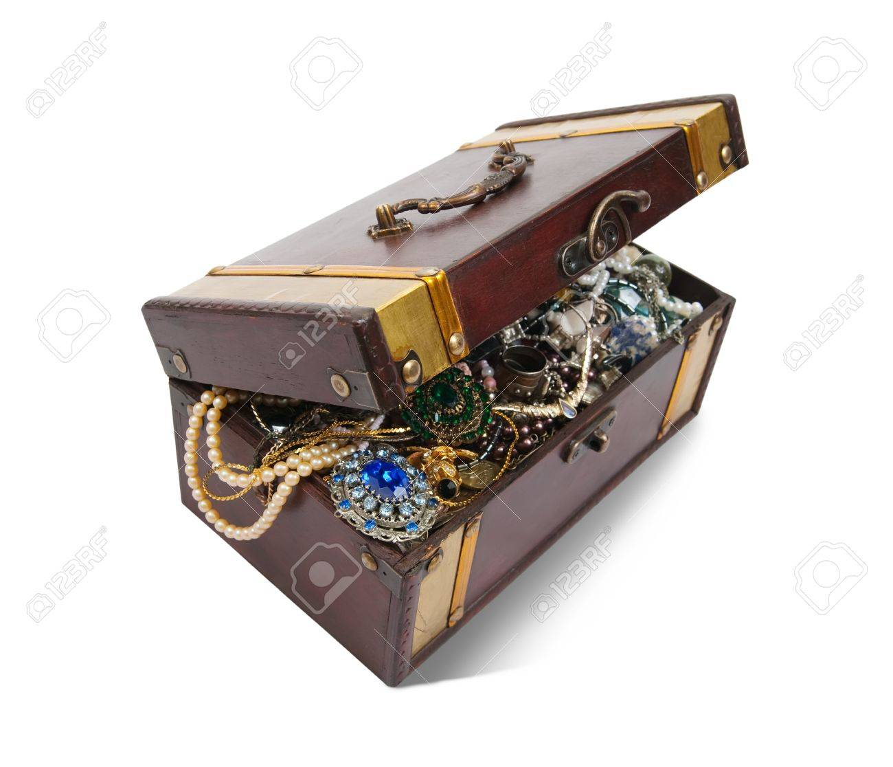 wooden treasure chest with valuables and gem Stock Photo - 7506552