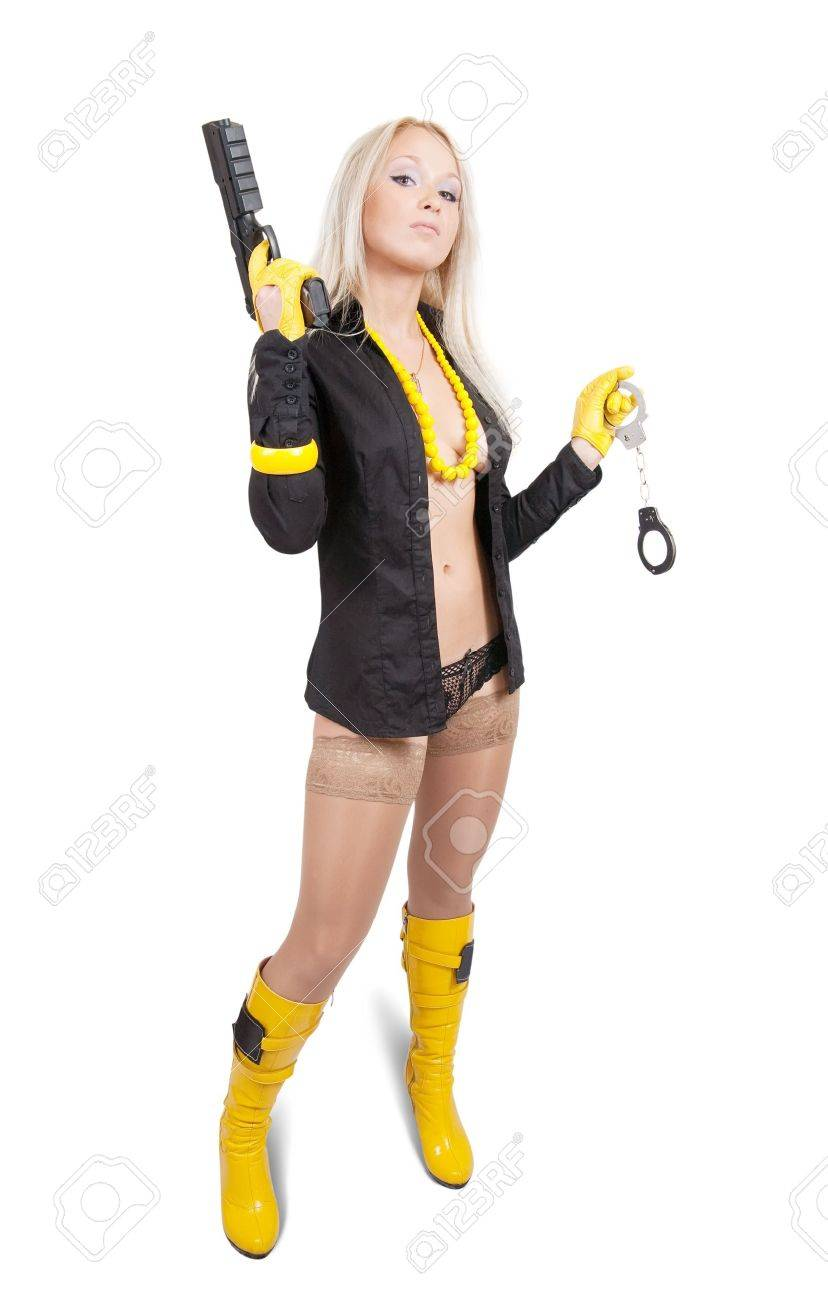 Sexy woman with guns and manacles over white Stock Photo - 7619018