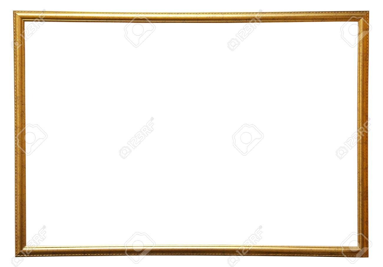 Modern Thin Gold Picture Frame, Isolated Stock Photo, Picture And ...