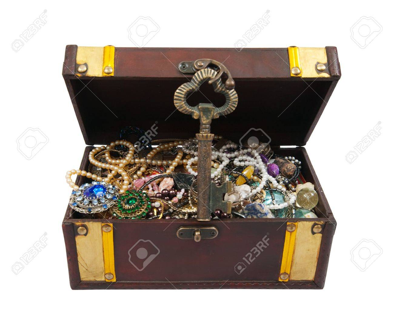 wooden treasure chest with valuables and gem, isolated over white background Stock Photo - 8202605