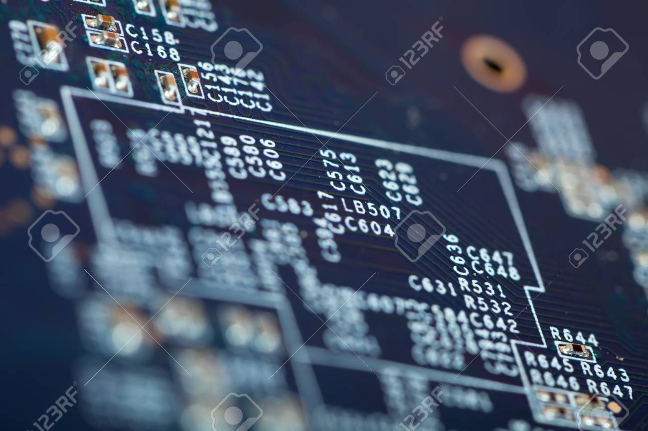 View of electronic circuit board close-up. Shallow DOF Stock Photo - 8334056