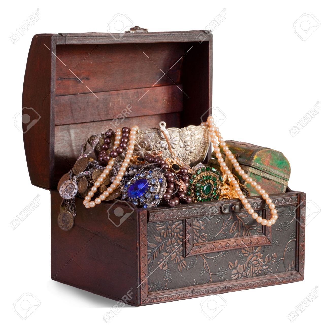 wooden treasure trunk with jewellery, isolated over white background Stock Photo - 8767708